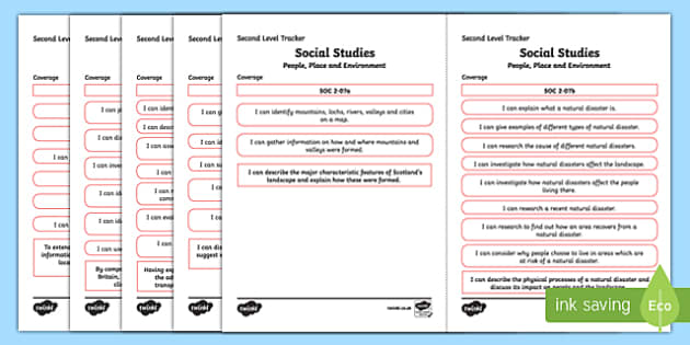 CfE Social Studies (People, Place and Environment) Second Level Child Friendly Tracking-Scottish