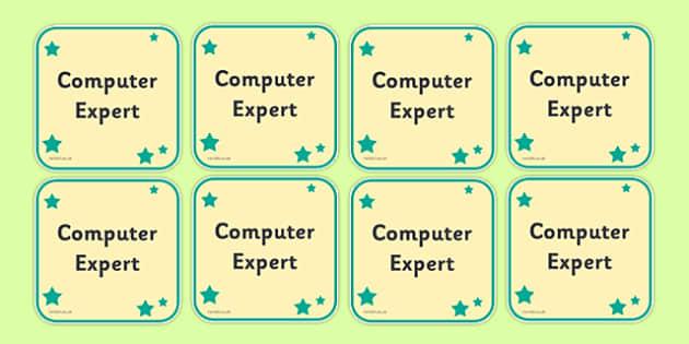 Computer Expert Badge - badge, sign, computer, expert