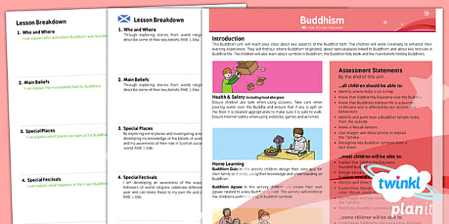 PlanIt - RE Year 4 - Buddhism Planning Overview CfE - Planit, CfE, World Religions, religion, Buddhism