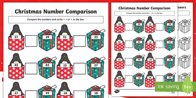Christmas Themed up to 100 Number Comparison Activity Sheet