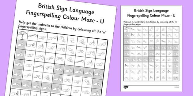 British Sign Language Fingerspelling Colour Maze U - colour, maze