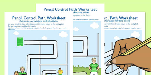 Rugby Pencil Control Path Worksheets Polish Translation - polish