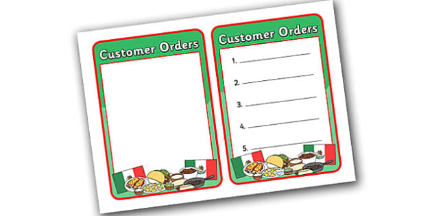 Mexican Restaurant Role Play Note Pad - mexican, restaurant, mexican restaurant, role play, role play note pad, note pad, note pad for role play