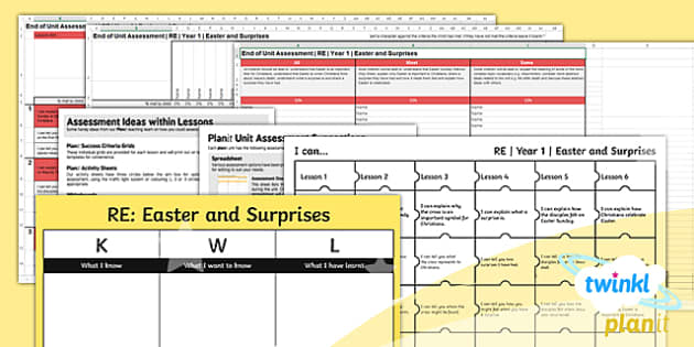 PlanIt - RE Year 1 - Easter and Surprises Unit Assessment Pack - RE, religion, christianity, assessment, lent, easter