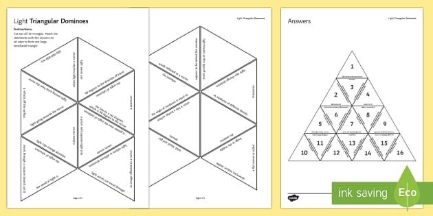 Light Waves Triangular Dominoes - Tarsia, Triangular Dominoes, Light Waves, Reflection, Refraction, Spectrum, revision