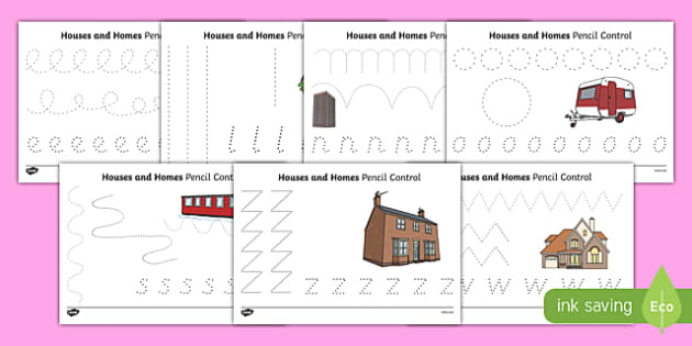 Houses & Homes Pencil Control Sheets - BIC picture, houses and homes, fine motor skills, house, home, Word cards, Word Card, flashcard, flashcards, brick, stone, detached, terraced, bathroom, kitchen, door, caravan, where we live, ourselves