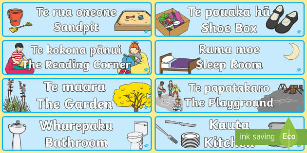 Learning Areas Display Banner Te Reo Maori/English - Kemu, games, papahono, puzzles, puoro,-musical, instruments, pukapuka, books, pōrohe, messy, pōhew