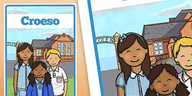 Poster 'Croeso' - welsh, cymraeg, poster, croeso, arddangos, wales