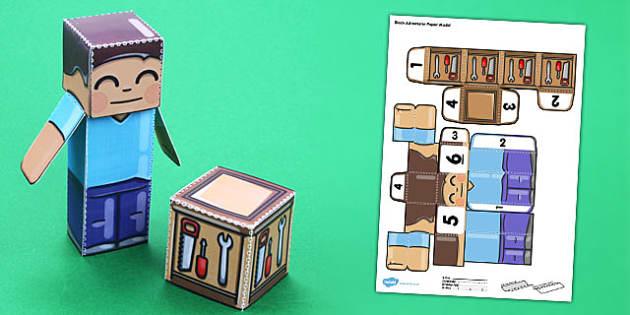 Block Adventurer Paper Model - paper, model, minecraft