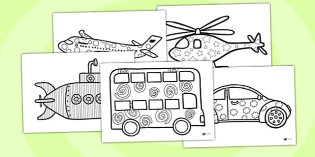 Patterned Transport Colouring Sheets - transport, colouring, game