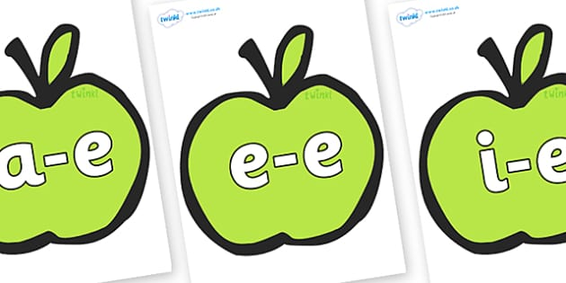 Modifying E Letters on Apples - Modifying E, letters, modify, Phase 5, Phase five, alternative spellings for phonemes, DfES letters and Sounds