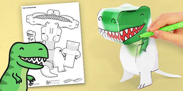 3D T-Rex Paper Model Activity - dino, activity, shape, colour