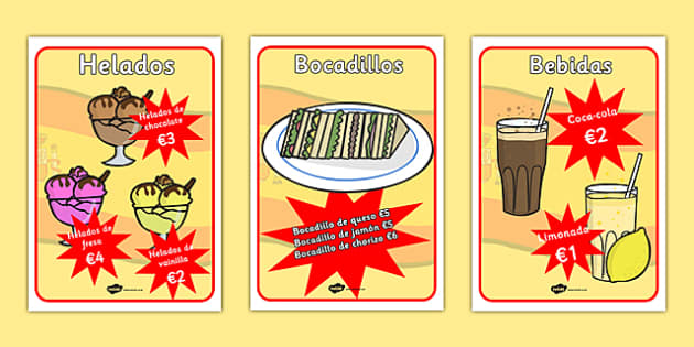 Spanish Cafe Role Play Food Posters -displays, poster, visual