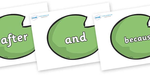 Connectives on Lily Pads - Connectives, VCOP, connective resources, connectives display words, connective displays