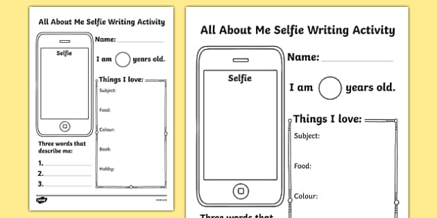 About Me Selfie Writing Activity Sheet worksheet – All About Me Worksheet