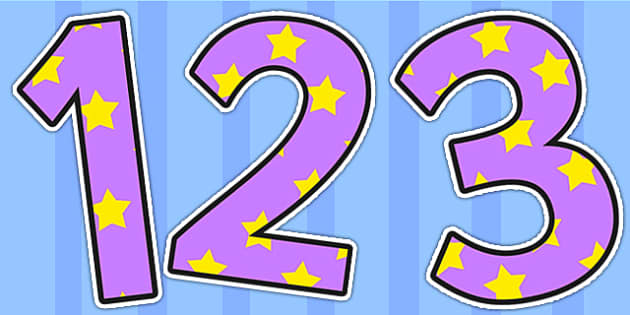 Lilac and Yellow Stars Display Numbers - stars, display numbers, display lettering, numbers for display, cut out numbers, display letters, number, display