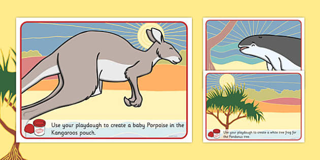 The Kangaroo and the Porpoise Playdough Mats - australia, dreamtime, story, aboriginal, the kangaroo and the porpoise,