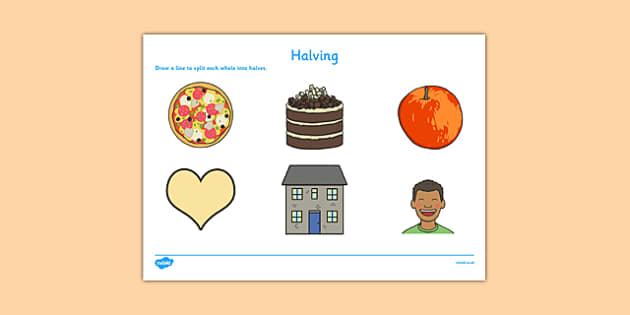 Halving Activity Sheet - CfE, numeracy, halving, halve, half, activity, scottish, curriculum, early, maths, assess, assessment, fractions, excellence, scotland, worksheet