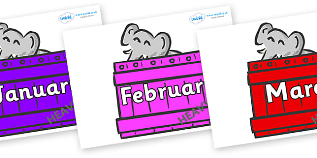 Months of the Year on Elephants (Crate) to Support Teaching on Dear Zoo - Months of the Year, Months poster, Months display, display, poster, frieze, Months, month, January, February, March, April, May, June, July, August, September