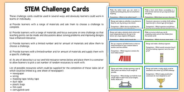 STEM Challenge Cards - stem, challenge cards, challenge, cards