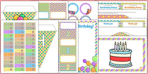 2nd Birthday Party Pack - 2nd birthday, 2nd birthday party, birthday party, birthday, party, new parents, pack