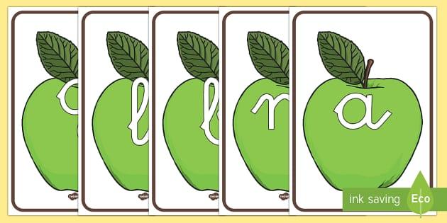 Tarjetas de fonemas: Manzanas verdes - lecto, leer, primeros sonidos, comida,Spanish, fruta
