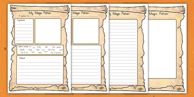 Magic Potion Writing Worksheet - writing, english, american, us, usa, instructions, food, witches, wizards, spell, early years, ks1, ks2, key stage, kindergarten,