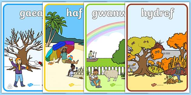 Welsh Seasons Display Posters - Seasons, season, autumn, winter, spring, summer, fall, seasons activity, seasons display, four seasons, Languages, foundation, languages, display