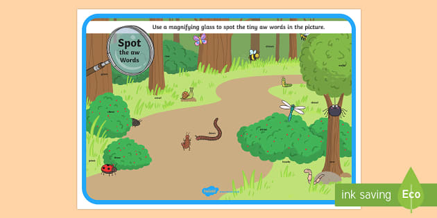 Phase 5 aw Words Minibeasts Scene Magnifying Glass Activity Sheet - phonics, letters and sounds, phase 5, aw sound, magnifier, magnifying glass, find, activity, group,
