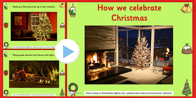 How We Celebrate Christmas PowerPoint - christmas, christmas powerpoint, how we celebrate christmas, christmas themed, information powerpoint, religion