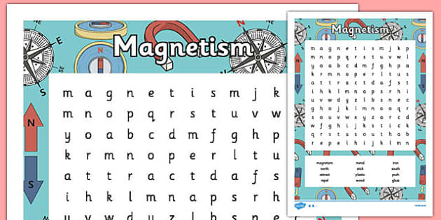 Magnetism Word Search - magnetism, word mat, word, mat, force, magnet