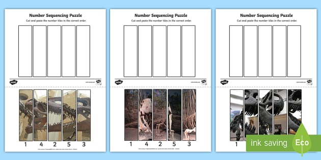 Dinosaur Themed Number Sequencing Photo Puzzles - dinosaurs
