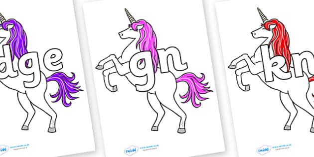 Silent Letters on Unicorn - Silent Letters, silent letter, letter blend, consonant, consonants, digraph, trigraph, A-Z letters, literacy, alphabet, letters, alternative sounds