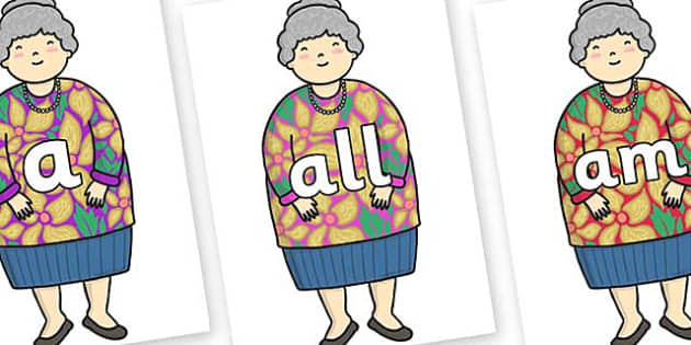 Foundation Stage 2 Keywords on Little Old Lady - FS2, CLL, keywords, Communication language and literacy,  Display, Key words, high frequency words, foundation stage literacy, DfES Letters and Sounds, Letters and Sounds, spelling