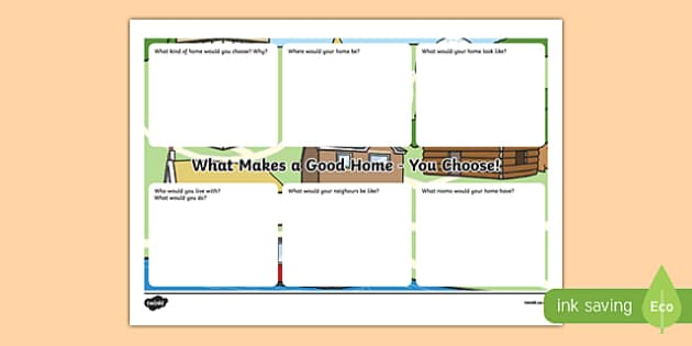 Houses and Homes: What Makes a Good Home? You Choose! Activity Sheet, worksheet