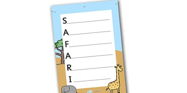Safari Acrostic Poem - safari, on safari, safari acrostic, safari poem, safari poem template, safari acrostic poem template, safari literacy, acrostic poem