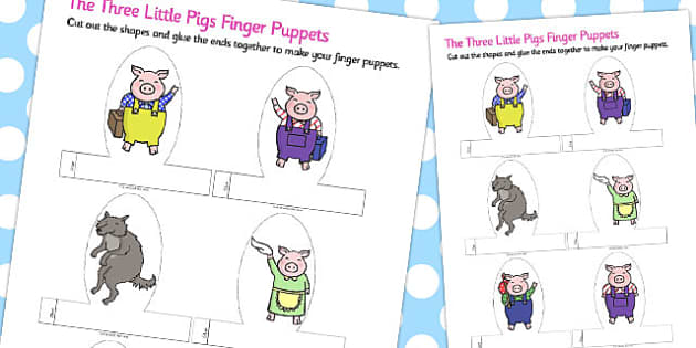 The Three Little Pigs Finger Puppets - australia, finger, puppets