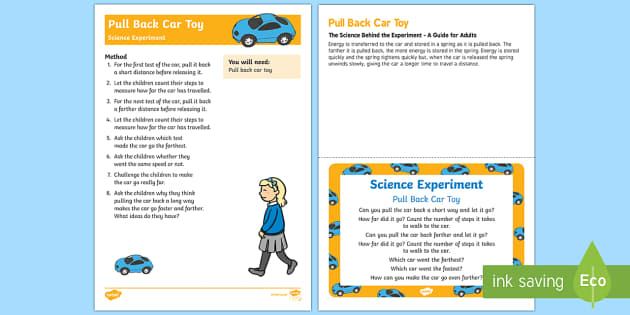 EYFS Pull Back Car Toy Science Experiment and Prompt Card Pack - Toys, car, friction, investigation, pull, go, move