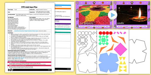 Rangoli Tessellation Patterns EYFS Adult Input Plan and Resource Pack