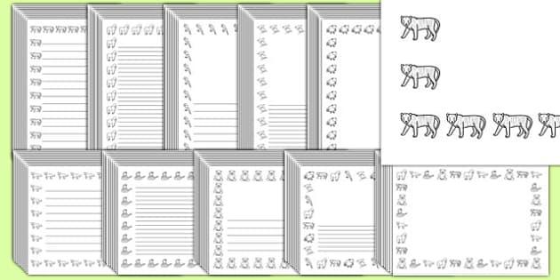 Editable Jungle Black and White Page Borders Pack - jungle, editable