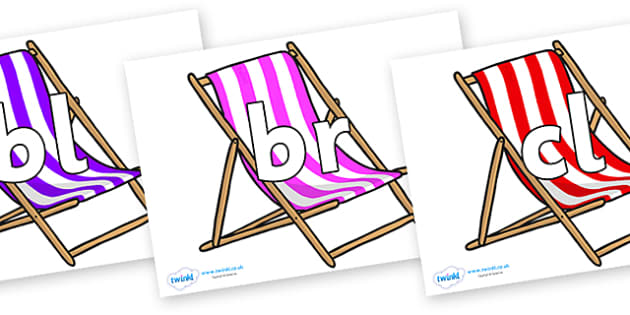 Initial Letter Blends on Deck Chairs - Initial Letters, initial letter, letter blend, letter blends, consonant, consonants, digraph, trigraph, literacy, alphabet, letters, foundation stage literacy