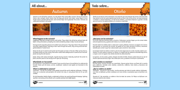 Autumn Differentiated Fact File Spanish Translation--translation