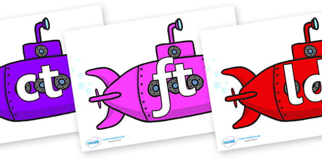 Final Letter Blends on Submarines - Final Letters, final letter, letter blend, letter blends, consonant, consonants, digraph, trigraph, literacy, alphabet, letters, foundation stage literacy