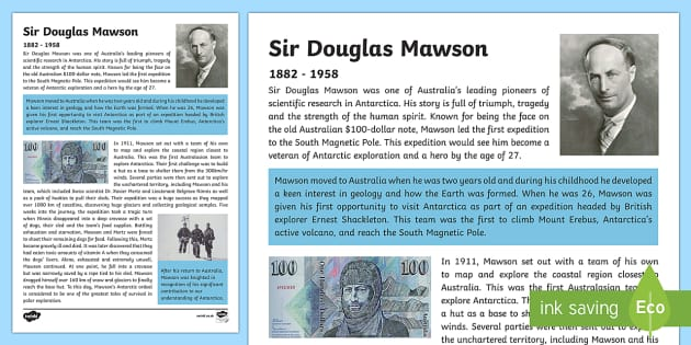 Australian Early Explorers  Douglas Mawson Fact File