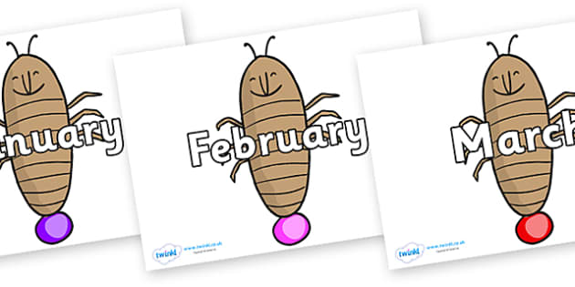 Months of the Year on Glowworm to Support Teaching on James and the Giant Peach - Months of the Year, Months poster, Months display, display, poster, frieze, Months, month, January, February, March, April, May, June, July, August, September