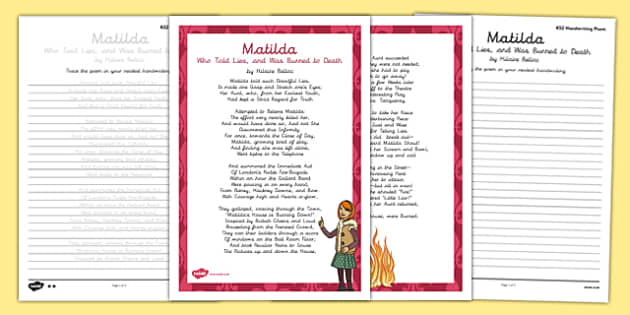 Matilda Cautionary Tale Handwriting Poem Pack - matilda cautionary tale, handwriting, poetry, poem pack
