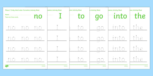 Phase 2 Tricky Words Letter Formation Activity - phase 2, phase two, tricky words, letter formation, activity