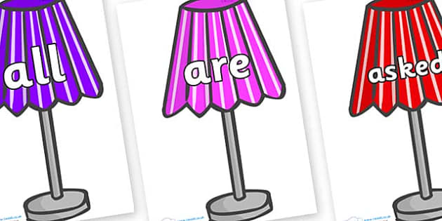 Tricky Words on Lamps - Tricky words, DfES Letters and Sounds, Letters and sounds, display, words
