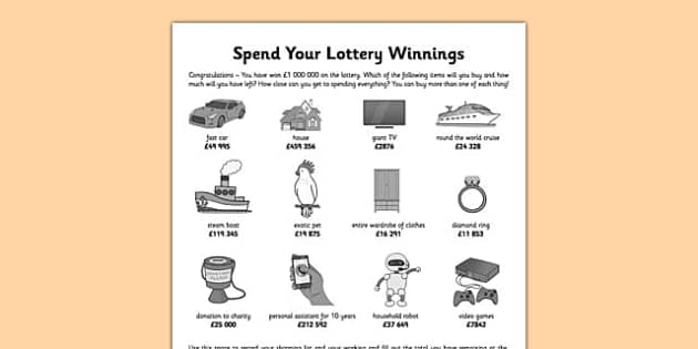 Spend your Lottery Winnings - addition, subtraction, multi-step problem, accounting