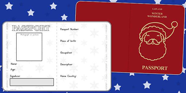 Father Christmas Passport Writing Frame - australia, christmas